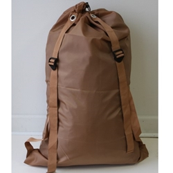 "DOUBLE STRAP brown 24""x 36"" polyester laundry bag"