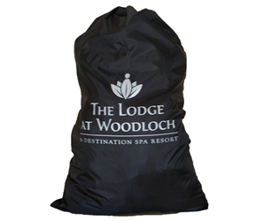 "Sample of a black laundry bag with white print ""Woodloch"""