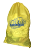 "Sample of a yellow laundry bag with print saying ""Bubbles Laundry"""