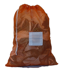 Large Orange Mesh Laundry Bag with Drawstring and Toggle and Sewn in ID Tag in the Front Center