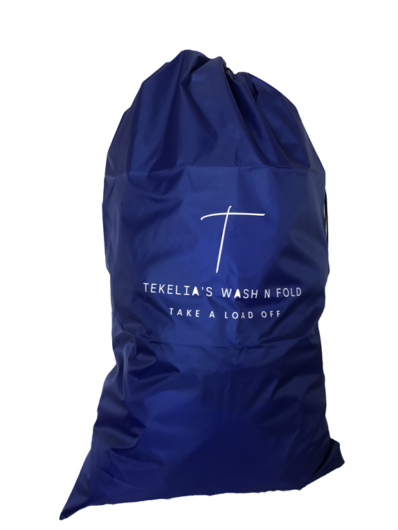 Sample of a blue polyester bag with wash and fold business name and tag line printed on it.