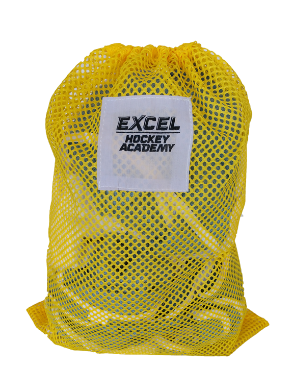 Sample of a yellow mesh laundry bag with black print of hockey sports team