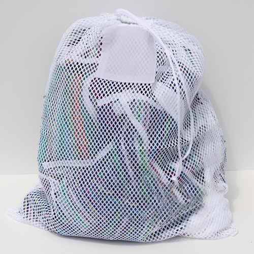 "White Mesh Net Draw String Laundry Bags 24"" x 36"""