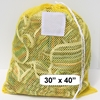 "Yellow Mesh Net Draw String Laundry Bags 30"" x 40"""