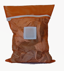 Medium Orange Mesh Laundry Bag with Drawstring and Toggle and Sewn in ID tag in the Front Center